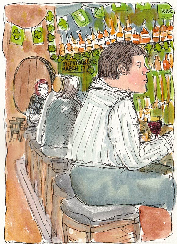 Spengers Bar, ink & watercolor
