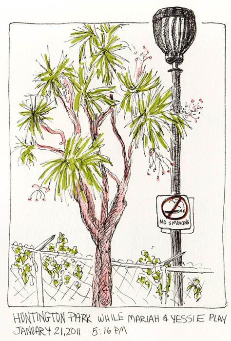 Huntington Park, ink & Pitt Artist brush pens