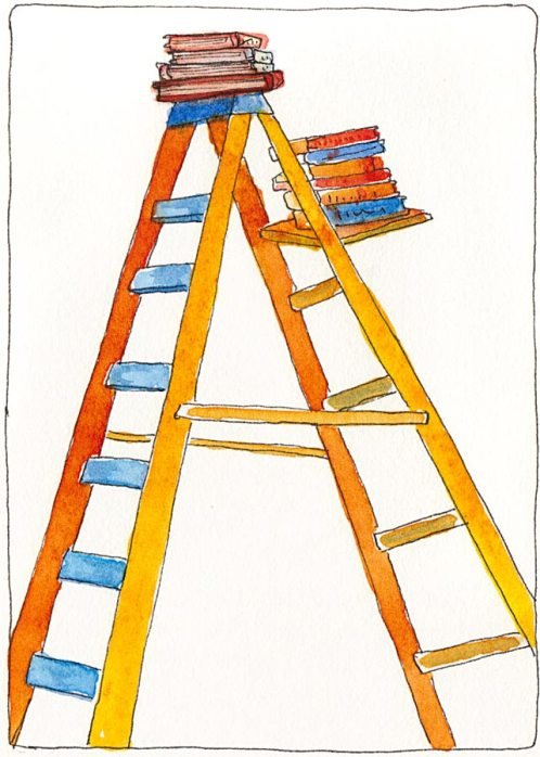 Ladder, Ink & watercolor