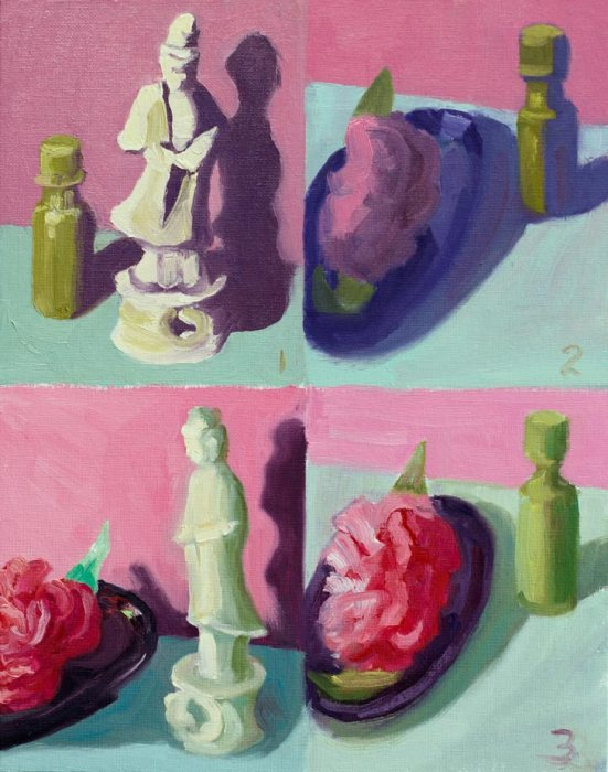 "Kwan Yin, Pepper Sauce,  Camelia in Soap Dish, oil on 8x10"" panel"