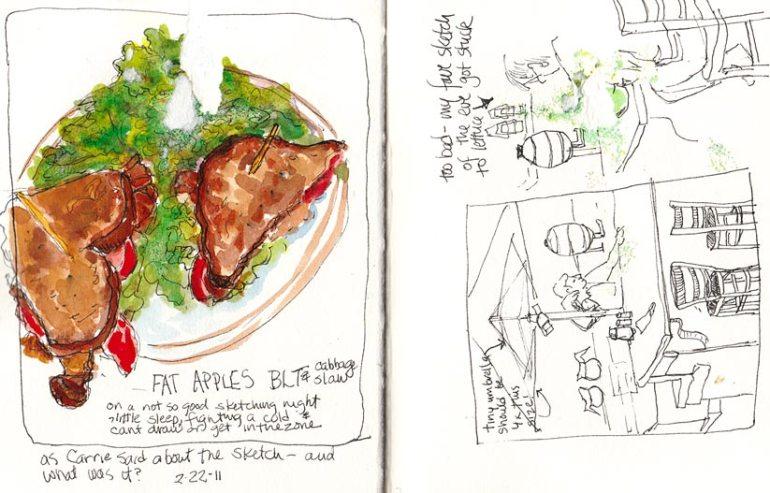 Fat Apples BLT, ink & watercolor