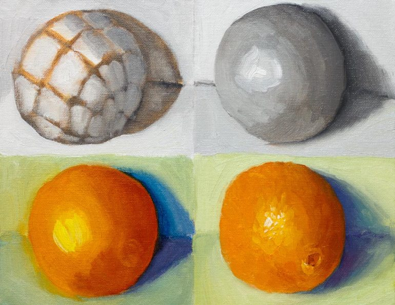 Orange structure times 4, oil on panel