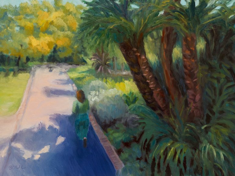 Capetown Company Gardens, South Africa, oil on panel, 9x12""