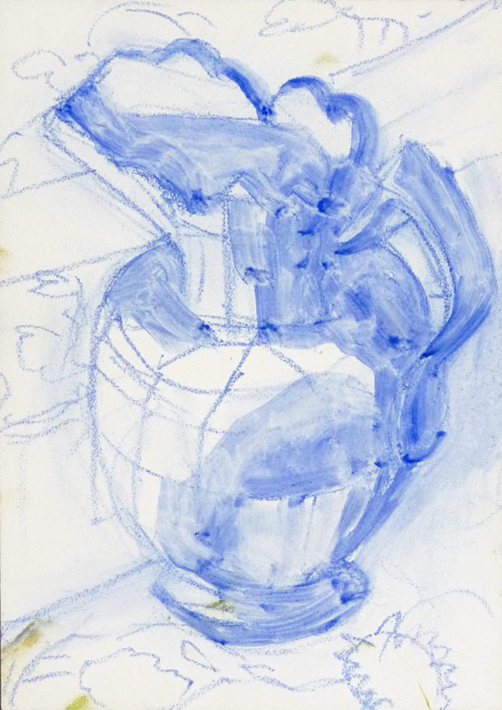 White pitcher preliminary sketch on panel