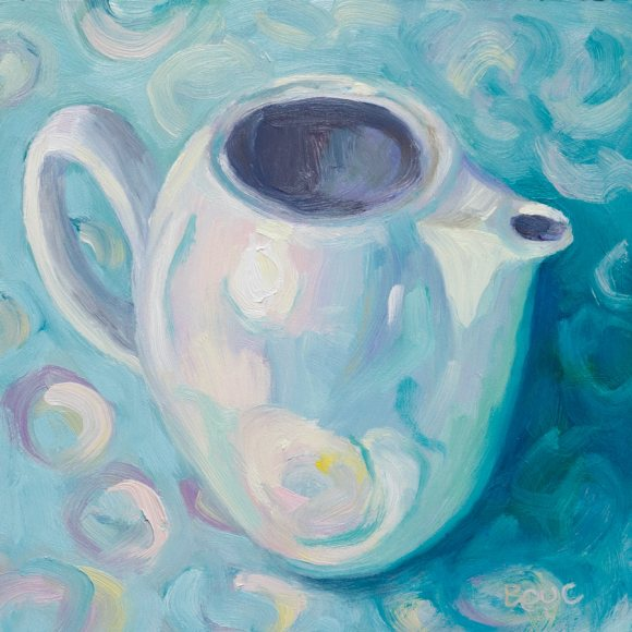 White teapot on wrapping paper, oil on panel, 6x6""