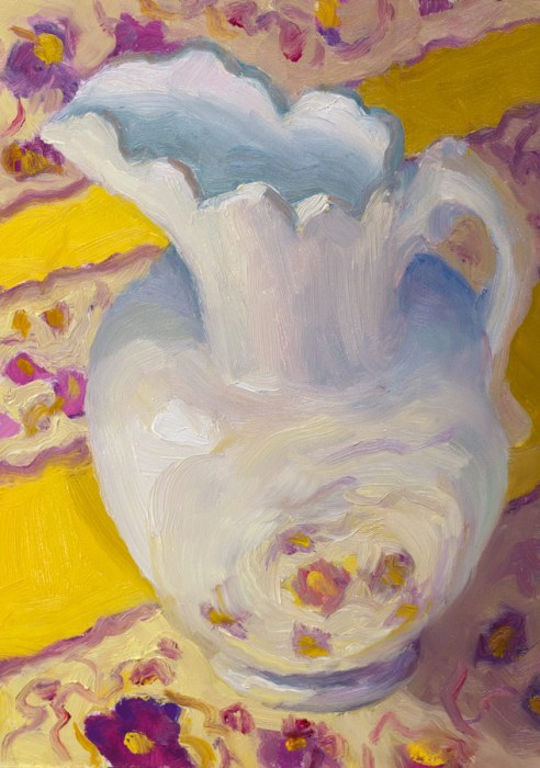 White Pitcher on Provence Pattern, oil on panel, 7x5""