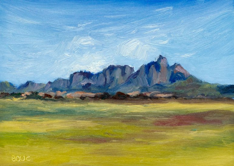 "Table Mountain View, Cape Town. Oil on 5x7"" panel."