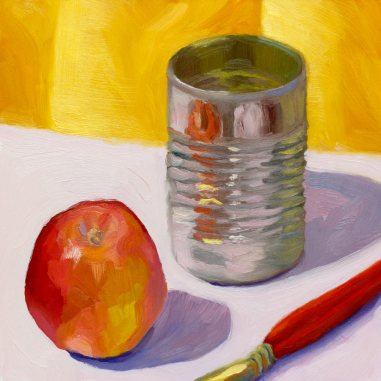 Apple Can Brush, oil on panel 8x8""