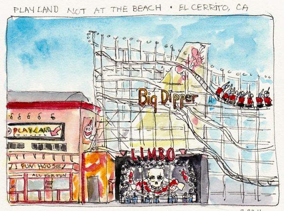 Detail of Playland Diarama, ink & watercolor