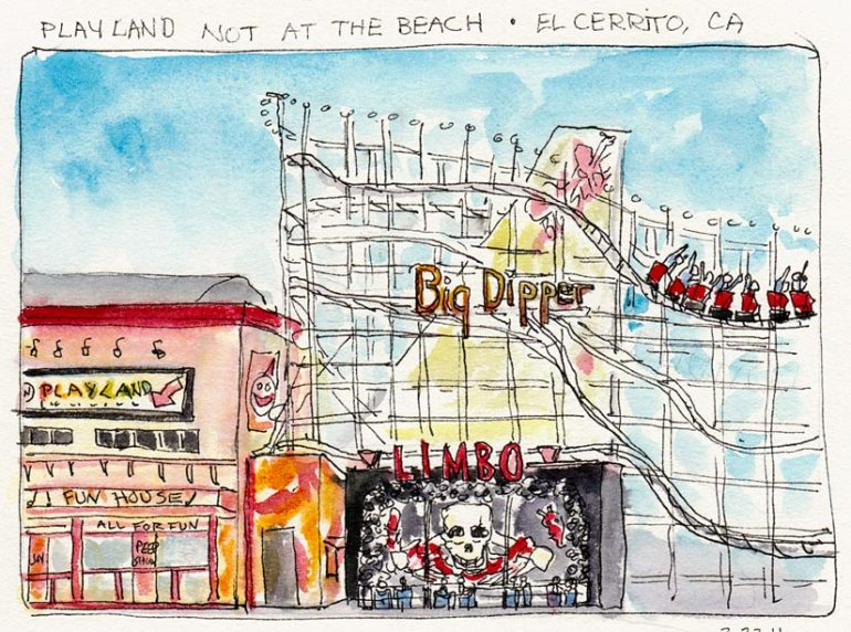 Detail of Playland Diarama, ink & watercolor