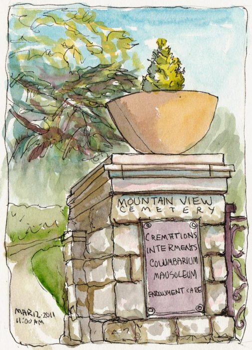 Mountain View Cemetery Entrance, ink & watercolor