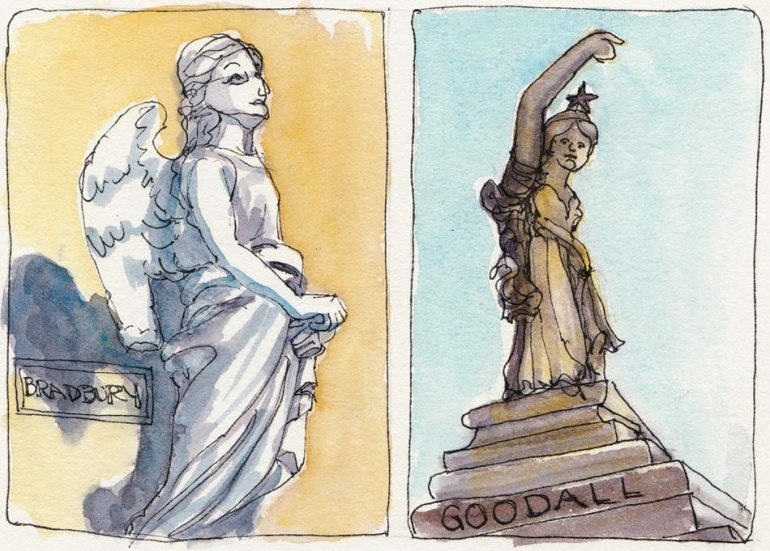 Mountain View Cemetery Statues, ink and watercolor