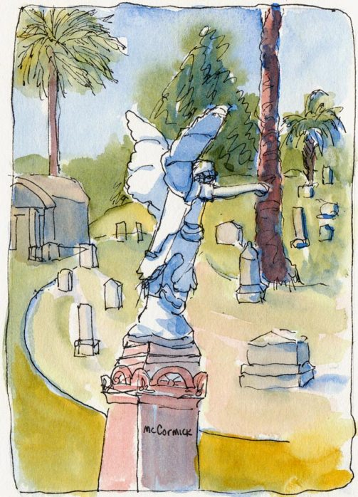 Mountain View Cemetery, ink & watercolor