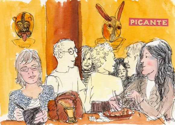 Picante Cocina Mexicana's Mask Lights, Ink & watercolor