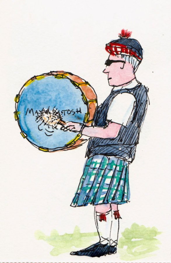 Macintosh Pipe Band Drummer, ink & watercolor
