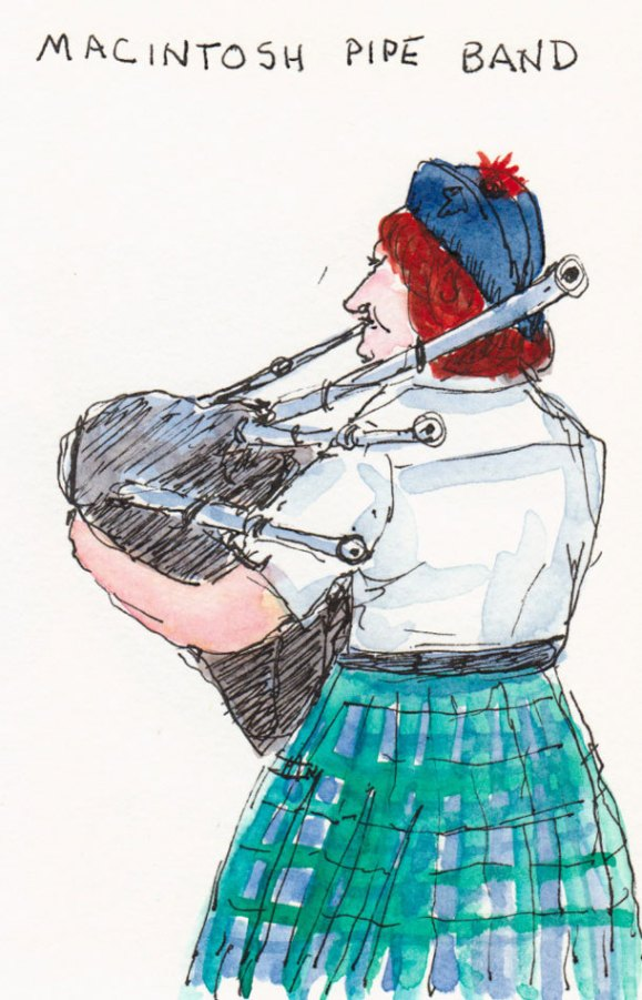 Macintosh Pipe Band, ink & watercolor in small WC Moleskine