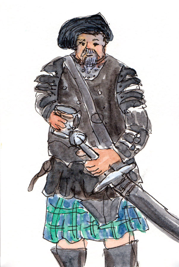 Warrior in full leather (and kilt), ink & watercolor