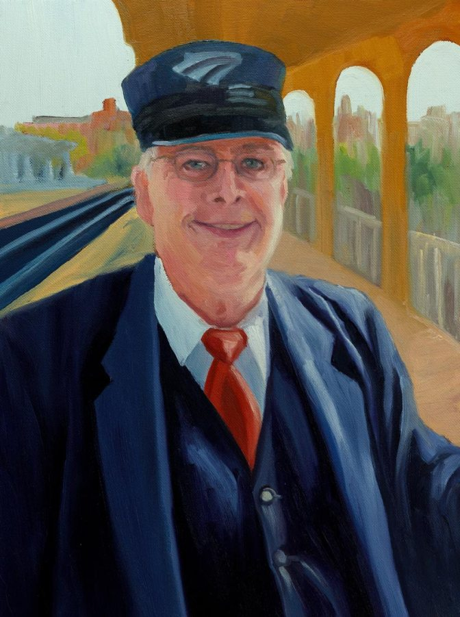 Capitol Corridor Amtrak Conductor, Oil on stretched canvas, 16x12""