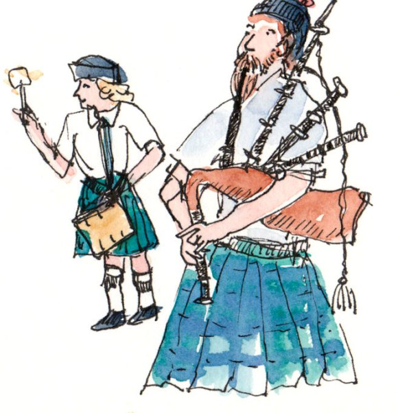 Macintosh Bagpiper and Drummer