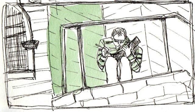 Pete Sketching atop stairs