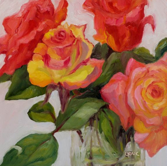 """Rose Reverence, oil on Gessobord panel, 10x10"""""""