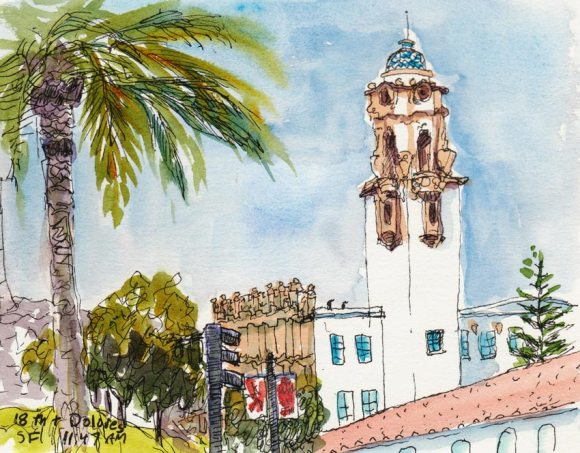 View from Dolores Park, ink & watercolor