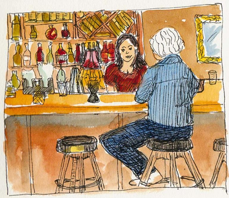 Albatross Pub Berkeley: the bar, ink & watercolor
