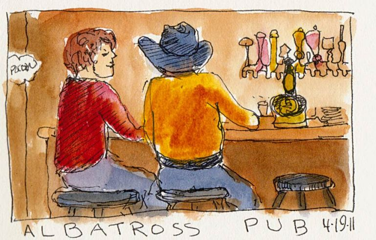 Albatross Pub, couple with hat, ink and watercolor