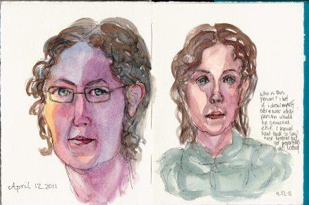 End of sketchbook self portraits, ink & watercolor