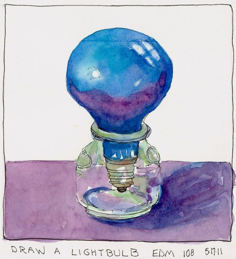 "Lightbulb, ink & watercolor, in 7x7"" Stonehenge Wirebound Journall"