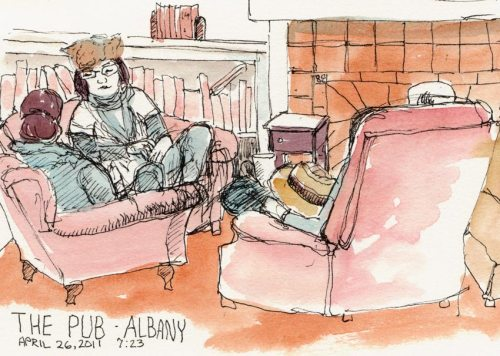 The Pub: Like a Living Room, ink & watercolor
