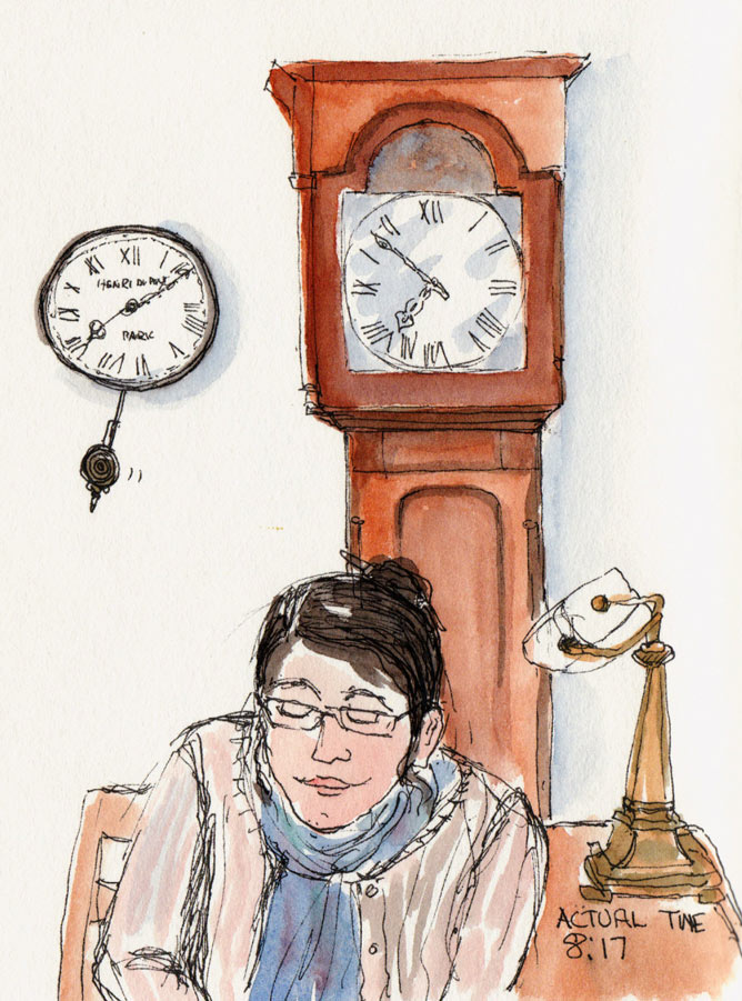On Pub Time, ink & watercolor