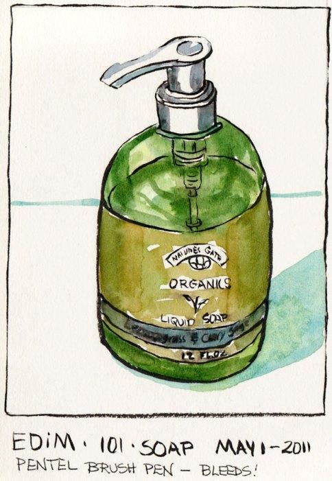 My Favorite Soap from Trader Joes, Pentel Brush Pen & watercolor