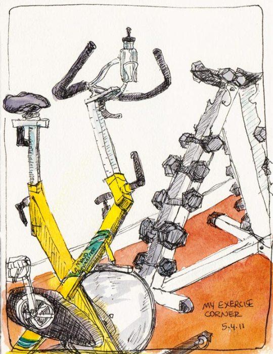 My Exercise Corner, ink & watercolor