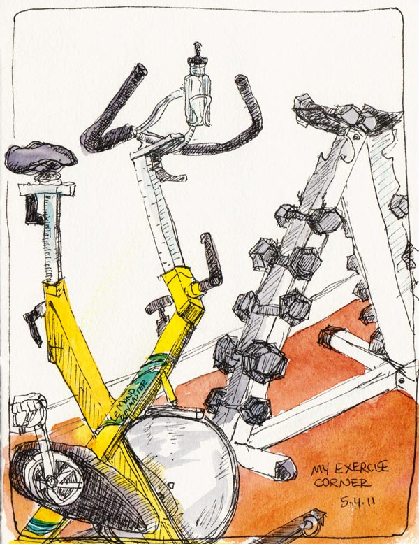 My Exercise Corner, ink & watercolor