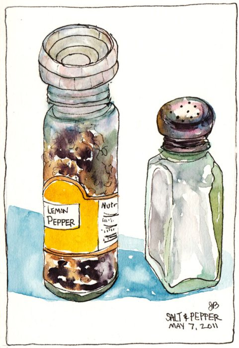 "My Lemon Pepper and Salt Shaker, ink & watercolor, 5.5""x7.5"