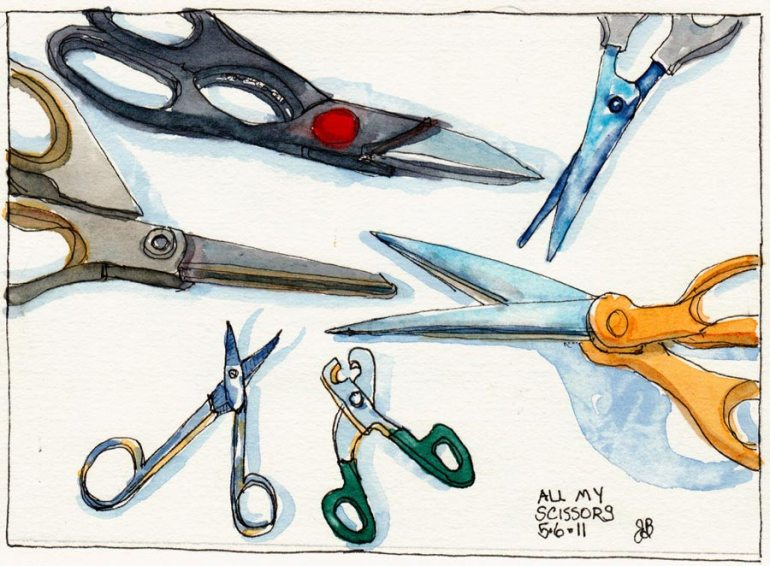 """All The Scissors I Own, ink & watercolor, 5.5x7.5"""""""