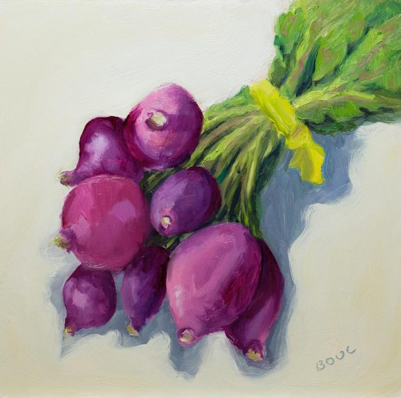 Happy Boy Farms Radishes, oil on panel, 8x8""