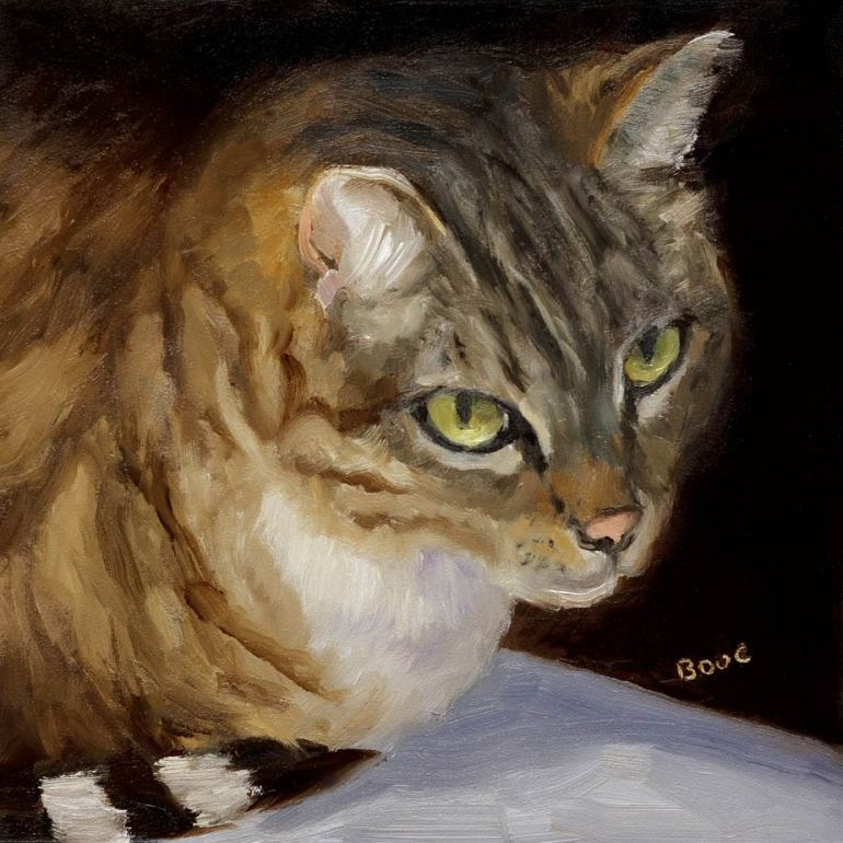 "Busby Berkeley, Oil on Panel, 6x6"" - Portrait of a Cat"