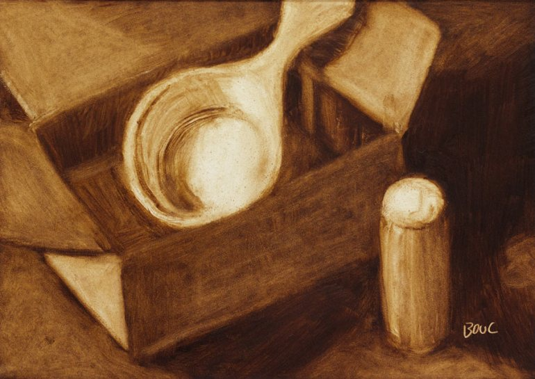 Value study/under-painting for Scoop and Cork, oil, 5x7""