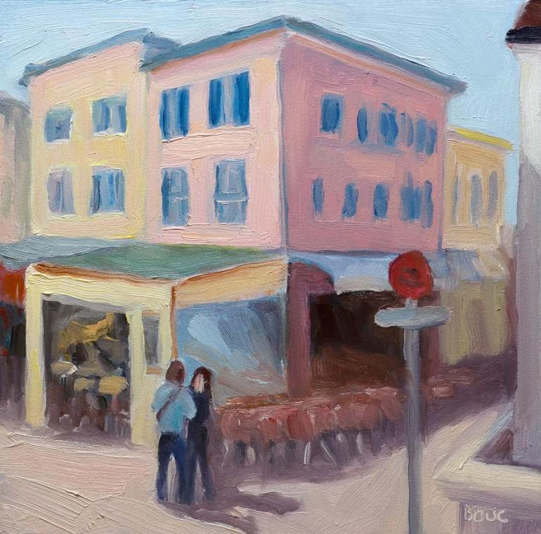 Le Clemenceau, French Riviera, oil on board, 6x6""