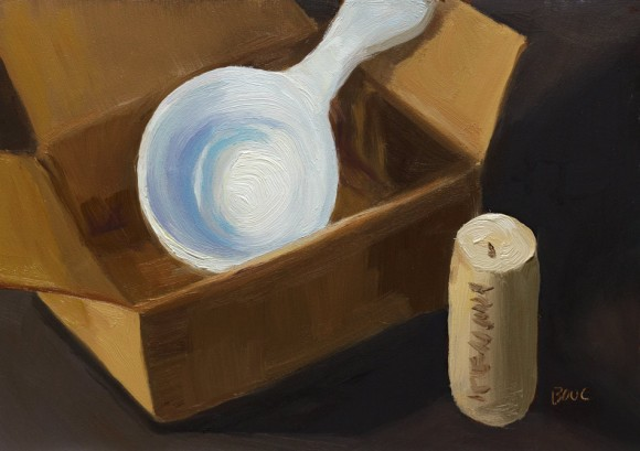 Boxed Coffee Scoop and Cork, oil on panel, 5x7""