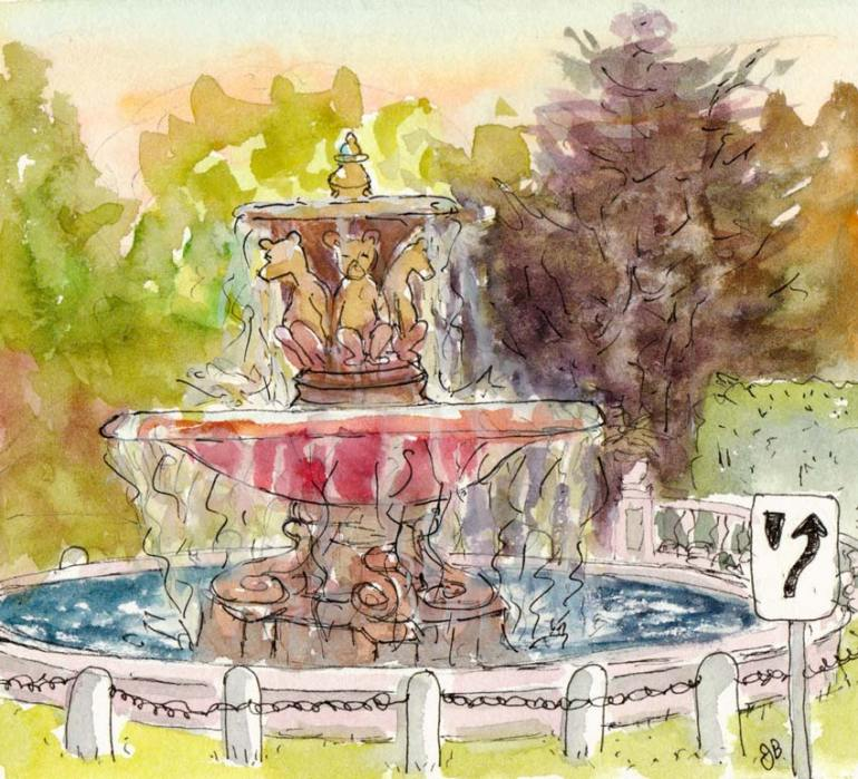Teddy Bear Fountain, ink & watercolor, 5 1/2 x6 1/2""
