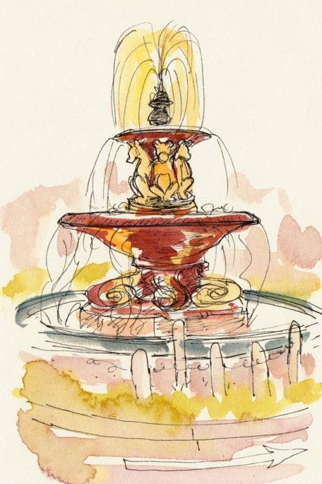 "Teddy Bear Fountain, ink & watercolor on hot press paper, 6""x4"""