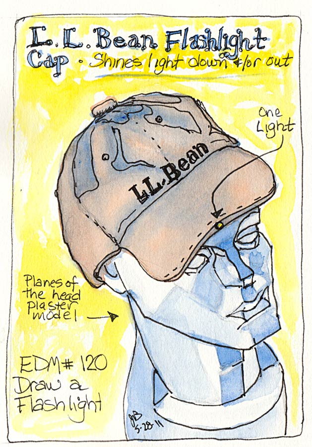 EDM #120 Flashlight (L.L. Bean Pathfinder Flashlight Hat), ink & watercolor