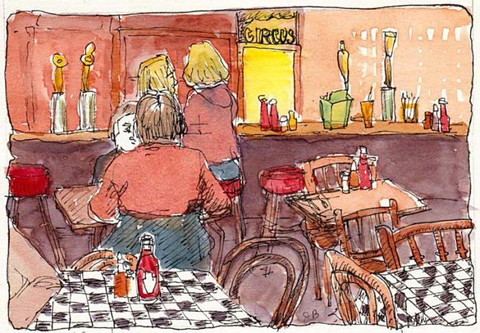 "Kensington Circus Pub, ink & watercolor, 5x7"""