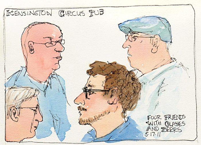 "Old friends plotting at Kensington Circus Pub, ink & watercolor, 5x7"""