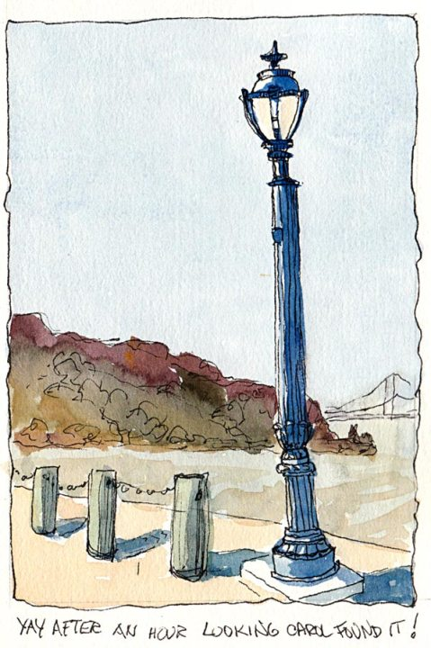 Benicia Waterfront Street Light, ink and watercolor,7x5""