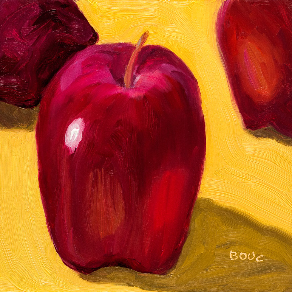 Big Red Delicious Apple, oil on panel, 6x6""