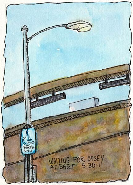 BART Station Street Light, ink & watercolor, 7.5 x5.5""
